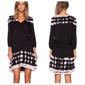 GYPSY 05 Crepe Dress in Black & Natural Tie Dye